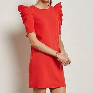 Miss Selfridge red exaggerated sleeve dress